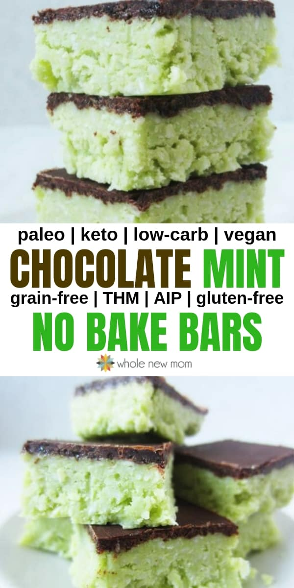 no bake chocolate mint bars on white plate