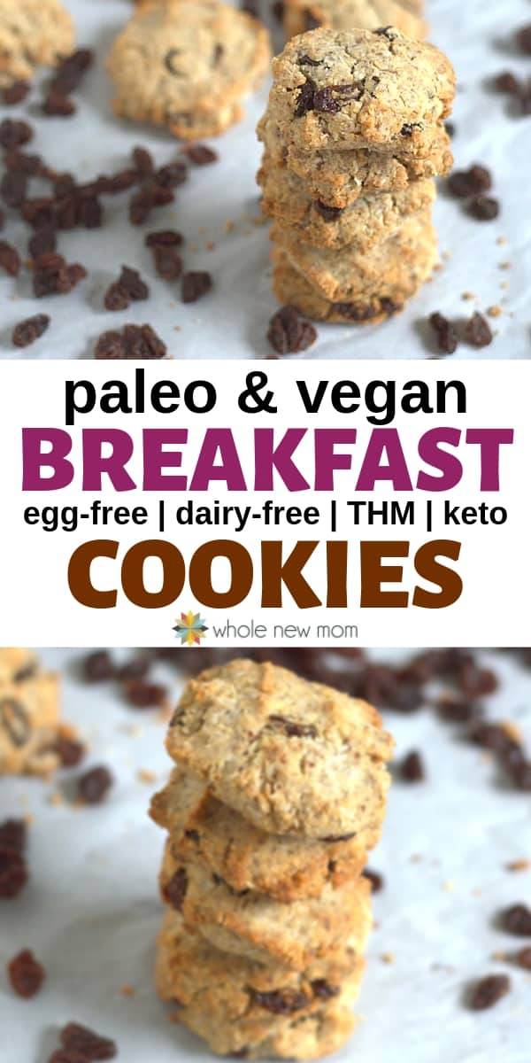 collage of paleo breakfast cookies in a pile with raisins scattered in background