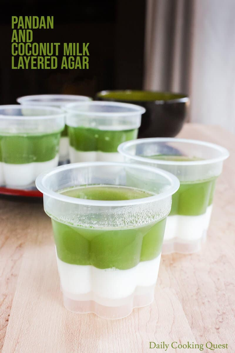 Pandan and Coconut Milk Layered Agar