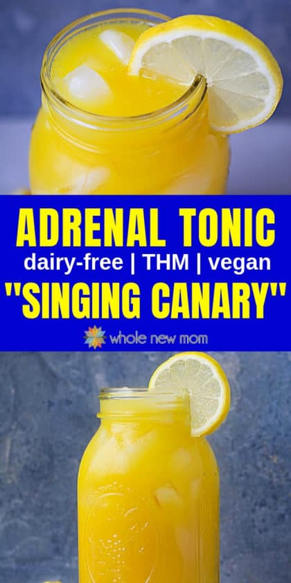 "adrenal tonic (""singing canary"") in glass mason jar"