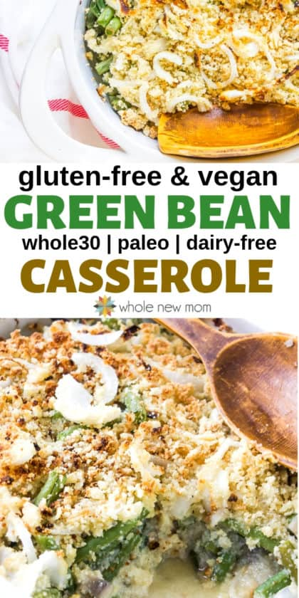 collage of vegan green bean casserole in white baking dish with wooden spoon