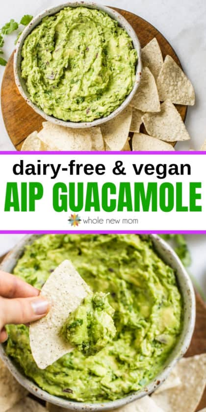 collage of aip guacamole in white bowl with paleo tortilla chips