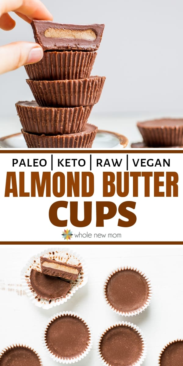 almond butter cups in muffin liners and in a pile on dessert plate
