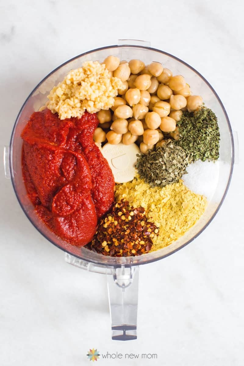pizza hummus ingredients in food processor