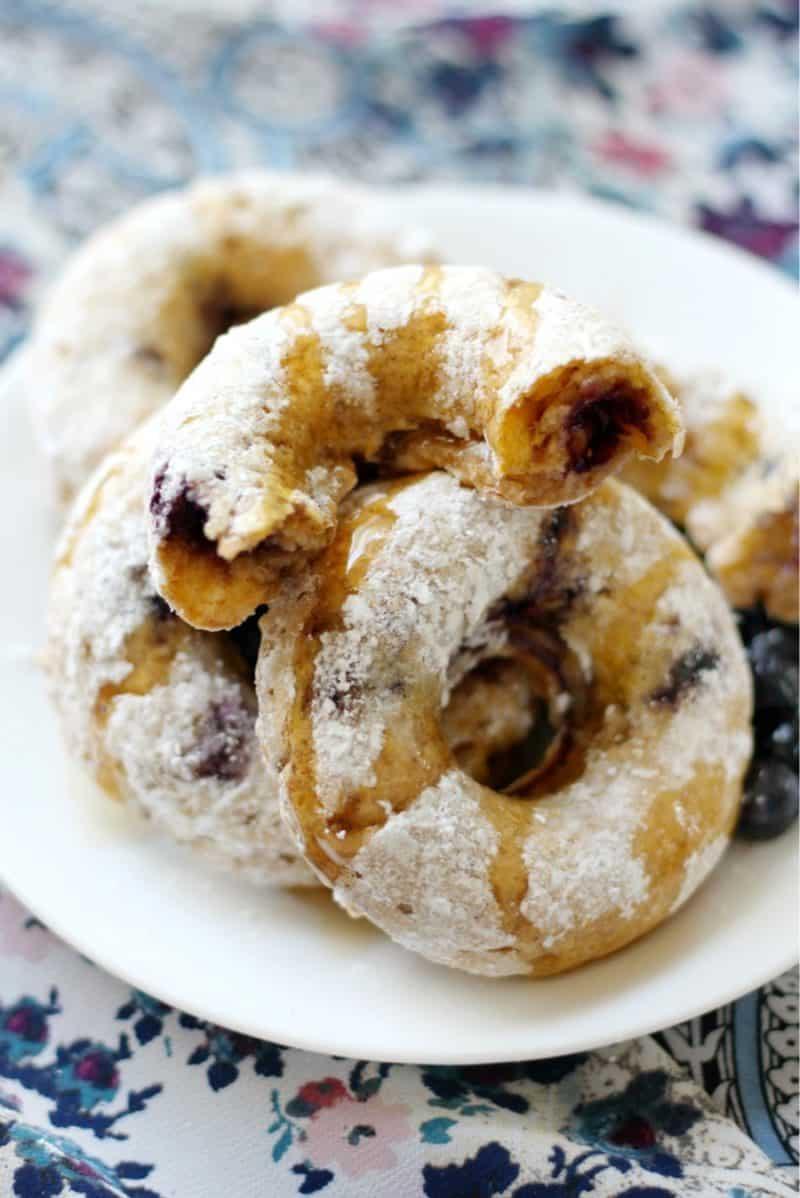 Maple Blueberry Powdered Sugar Doughnuts