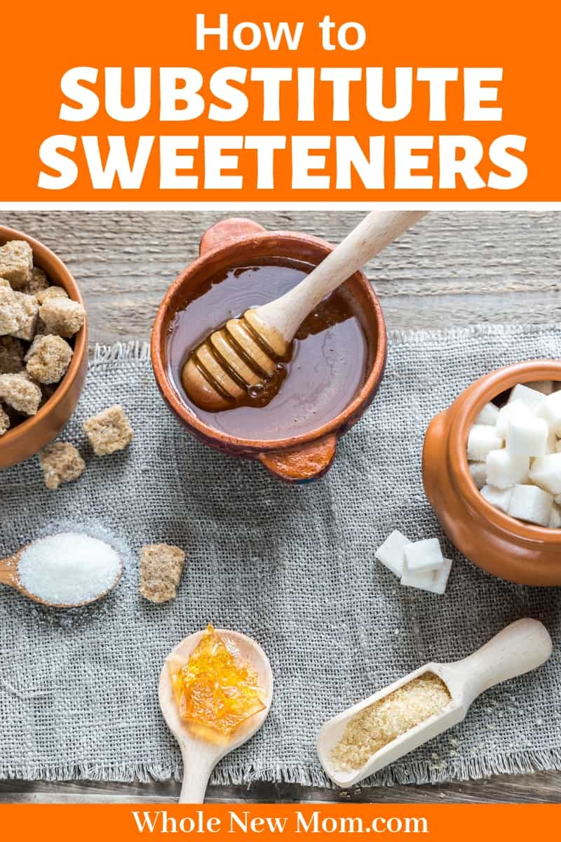 honey, sugar, and brown sugar in bowls with spoons for post about baking with honey and baking with maple syrup