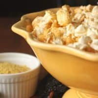 dorito popcorn in yellow bowl