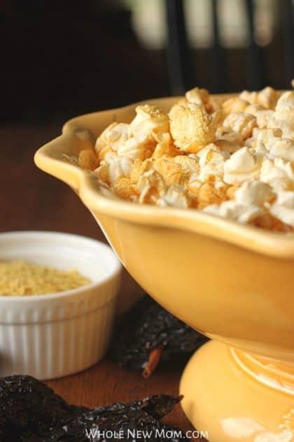 dorito popcorn in yellow bowl