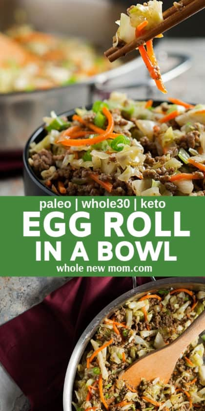 egg roll in a bowl in a pan and with chopsticks in a bowl