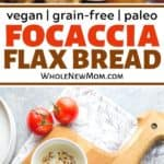focaccia flax bread on a wooden cutting board with olive oil dipping sauce