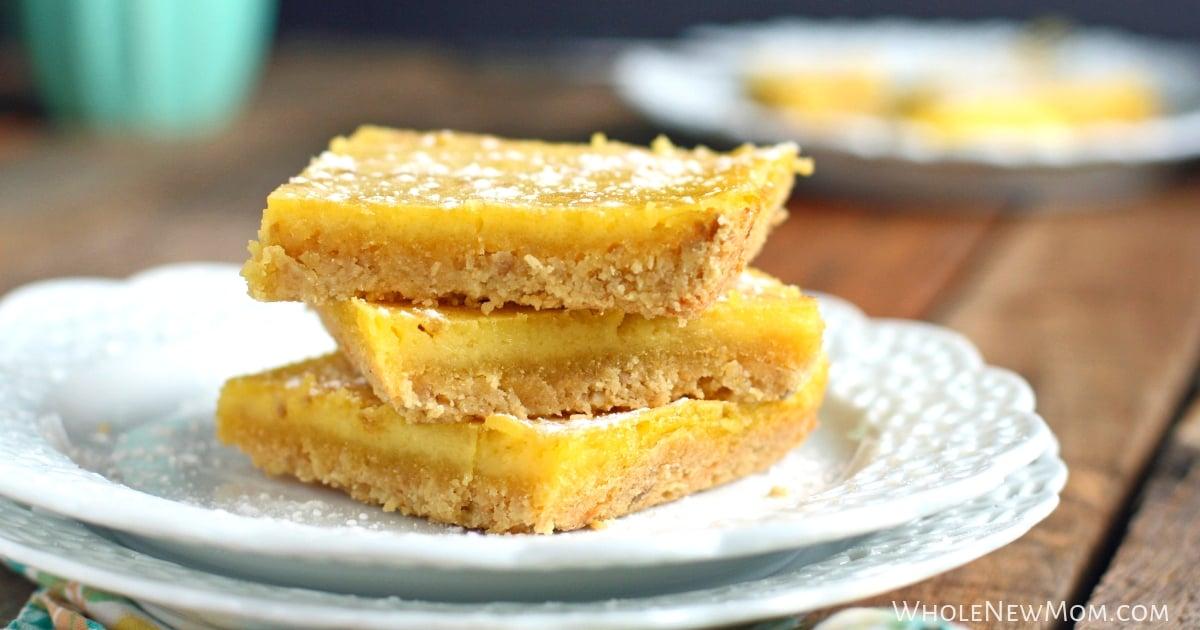 gluten-free lemon bars on a white plate