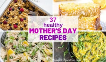 collage of healthy mother's day recipes