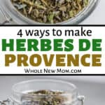 collage of herbes de provence spice blend in glass jars