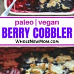 paleo berry cobbler in white baking dish with a spoon