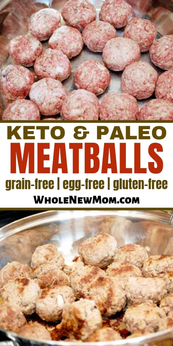 collage of paleo meatballs in pan--raw and cooked