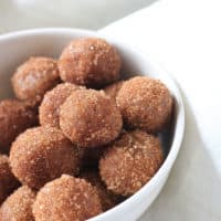 snickerdoodle cookie dough bites in white bowl