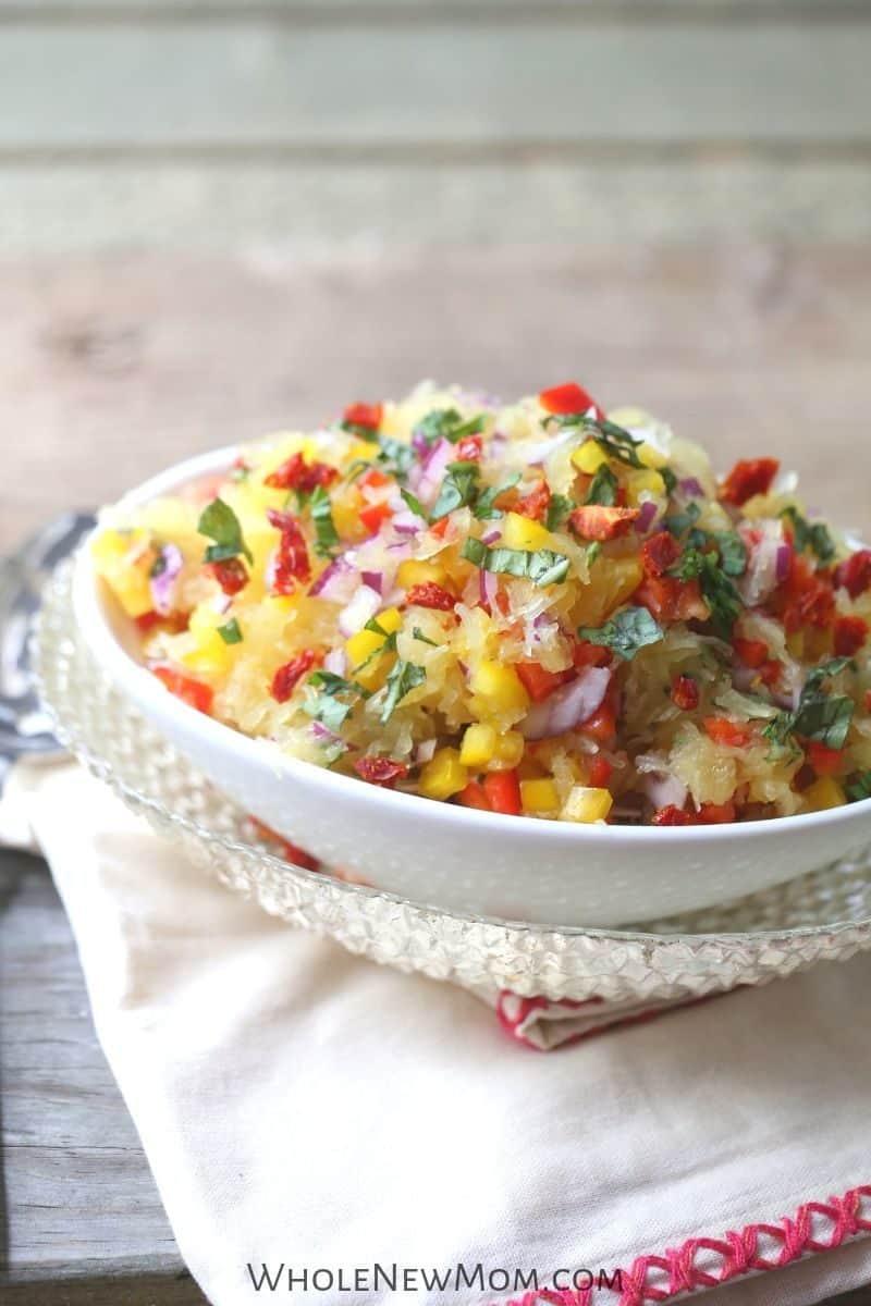 spaghetti squash salad in a white bowl