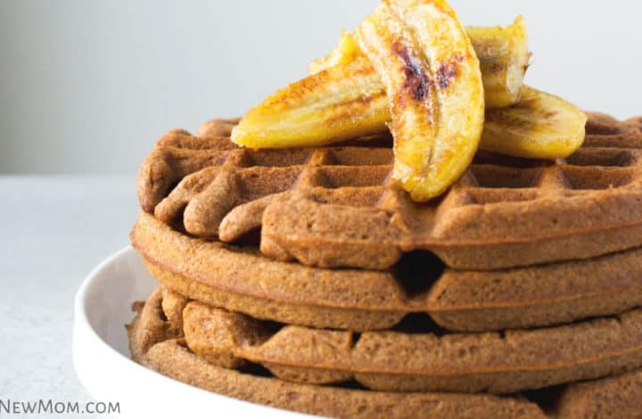 teff waffles with caramelized bananas on a white plate