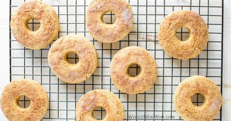 gluten-free whole-grain donuts on a cooling rack