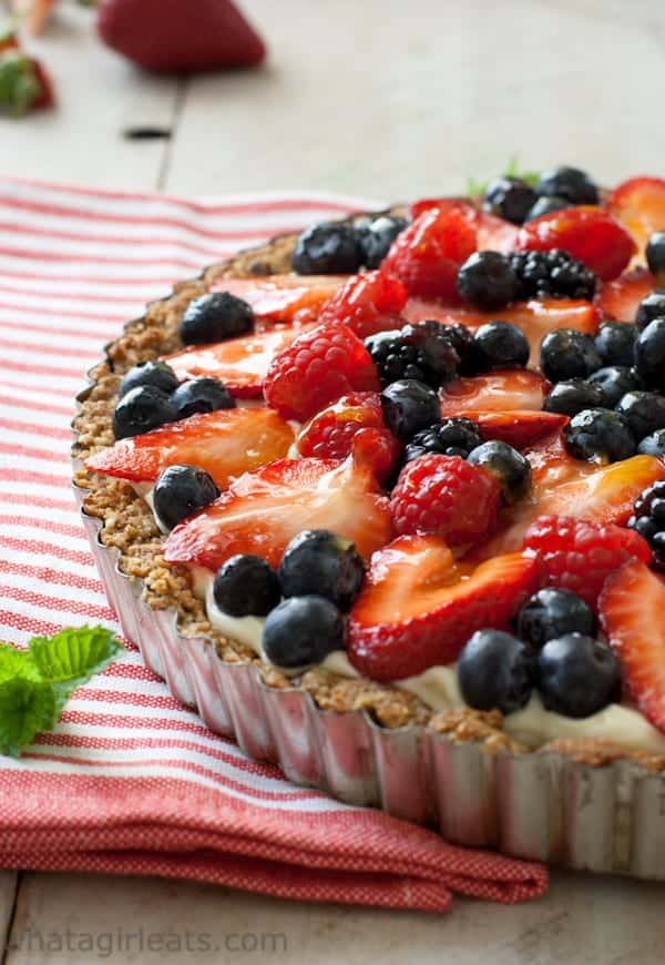 Grain-Free Red, White, and Blue Fruit Tart