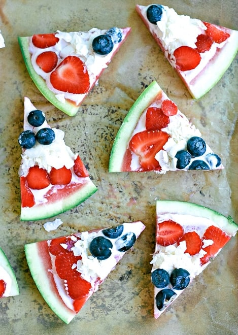 Red, White, and Blue Watermelon Pizza