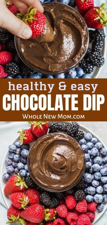 healthy chocolate avocado dip in a white bowl surrounded by fresh berries