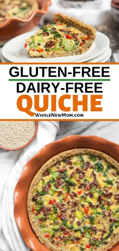 dairy free quiche in baking pan and on white plate