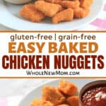 hand dipping gluten free chicken nuggets into ketchup