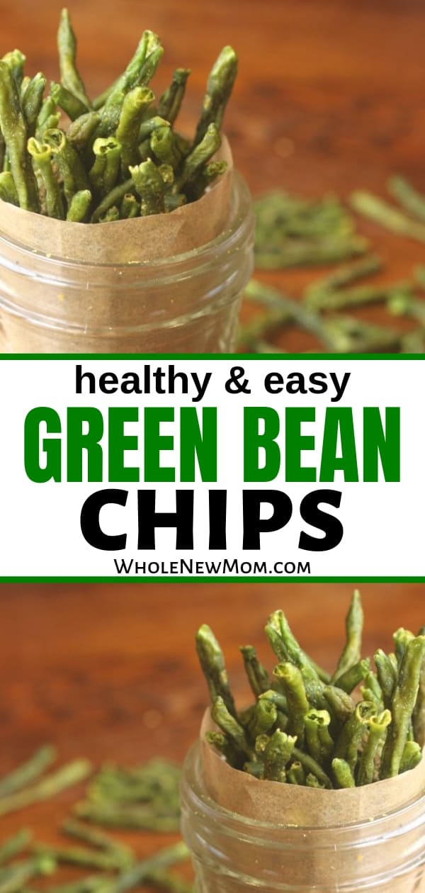 green bean chips in glass jars with parchment paper