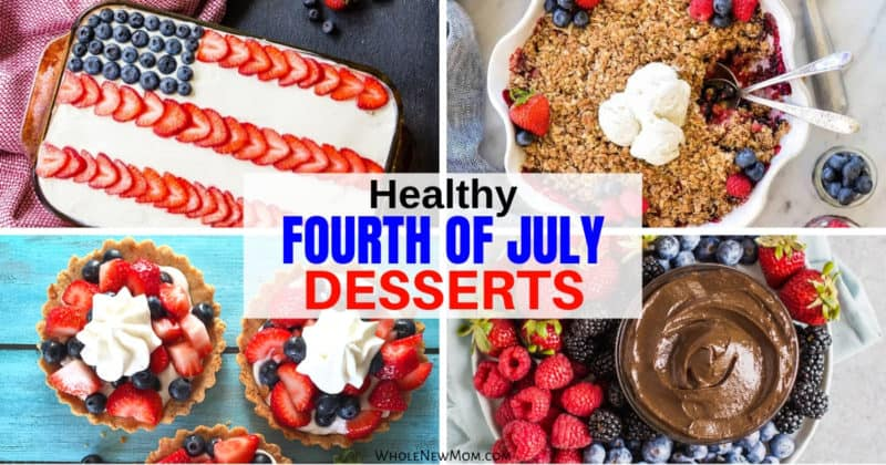 collage of healthy fourth of july desserts