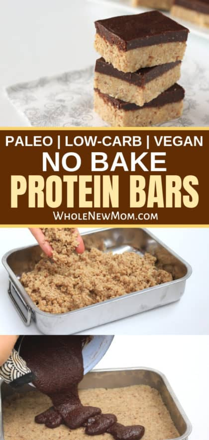 homemade protein bars on a plate with photos of how to make protein bars