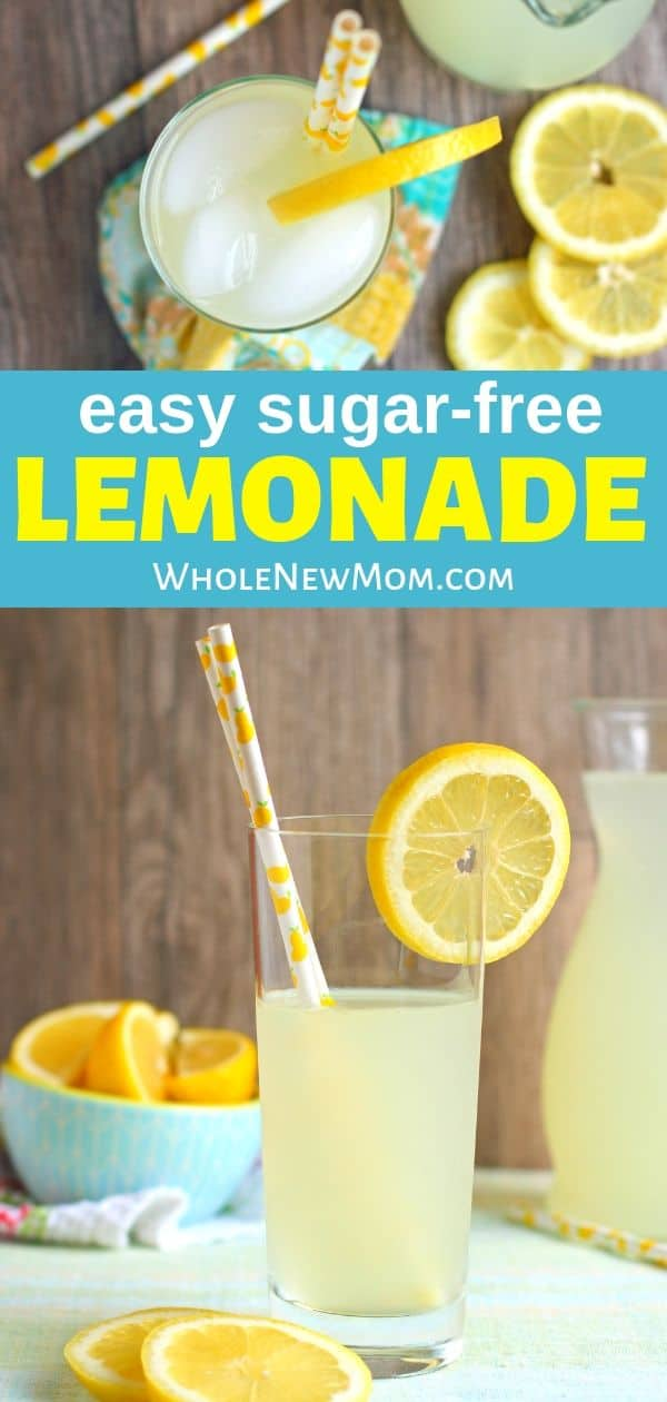 homemade sugar-free lemonade in glass with lemon garnish and straw