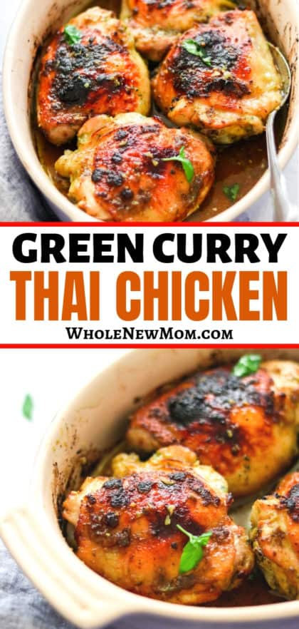thai curry chicken in a white baking dish