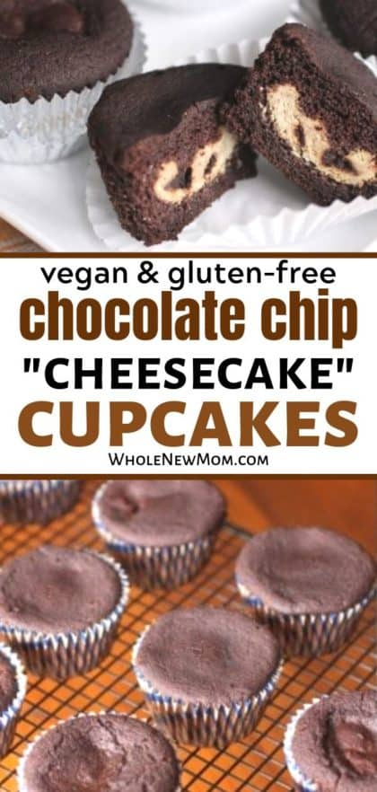 vegan cheesecake cupcakes collage--cupcakes on plate and on a cooling rack