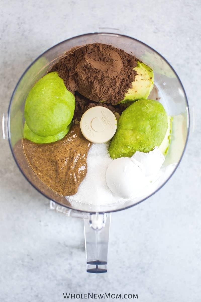 vegan chocolate dip ingredients in food processor