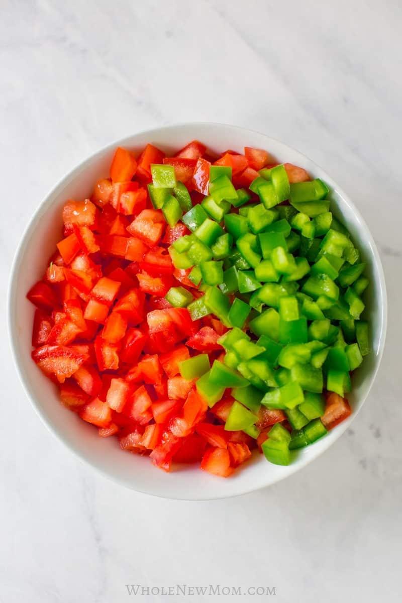 fresh salsa ingredients in white bowl