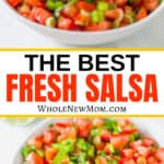 fresh salsa in white bowl with tortilla chips