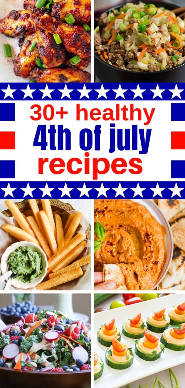 collage of healthy fourth of july recipes