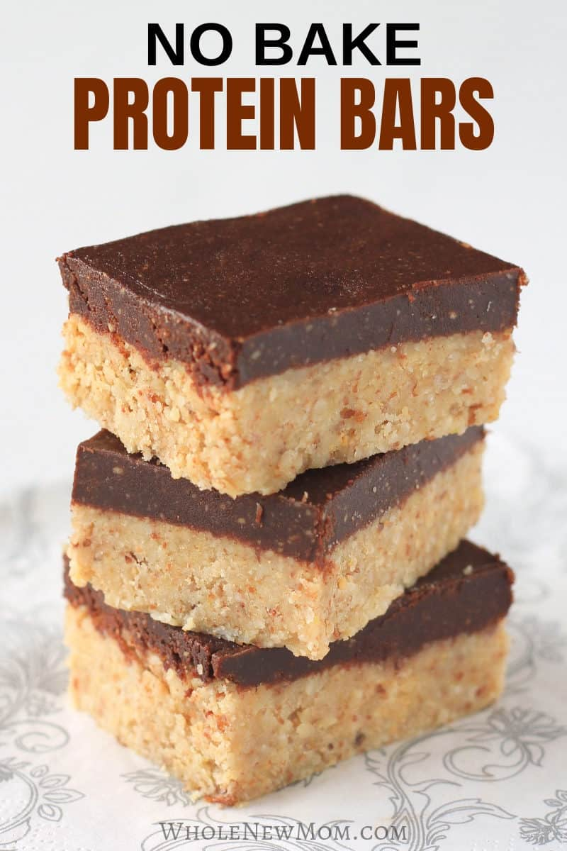 homemade protein bars in a stack on a gray and white plate