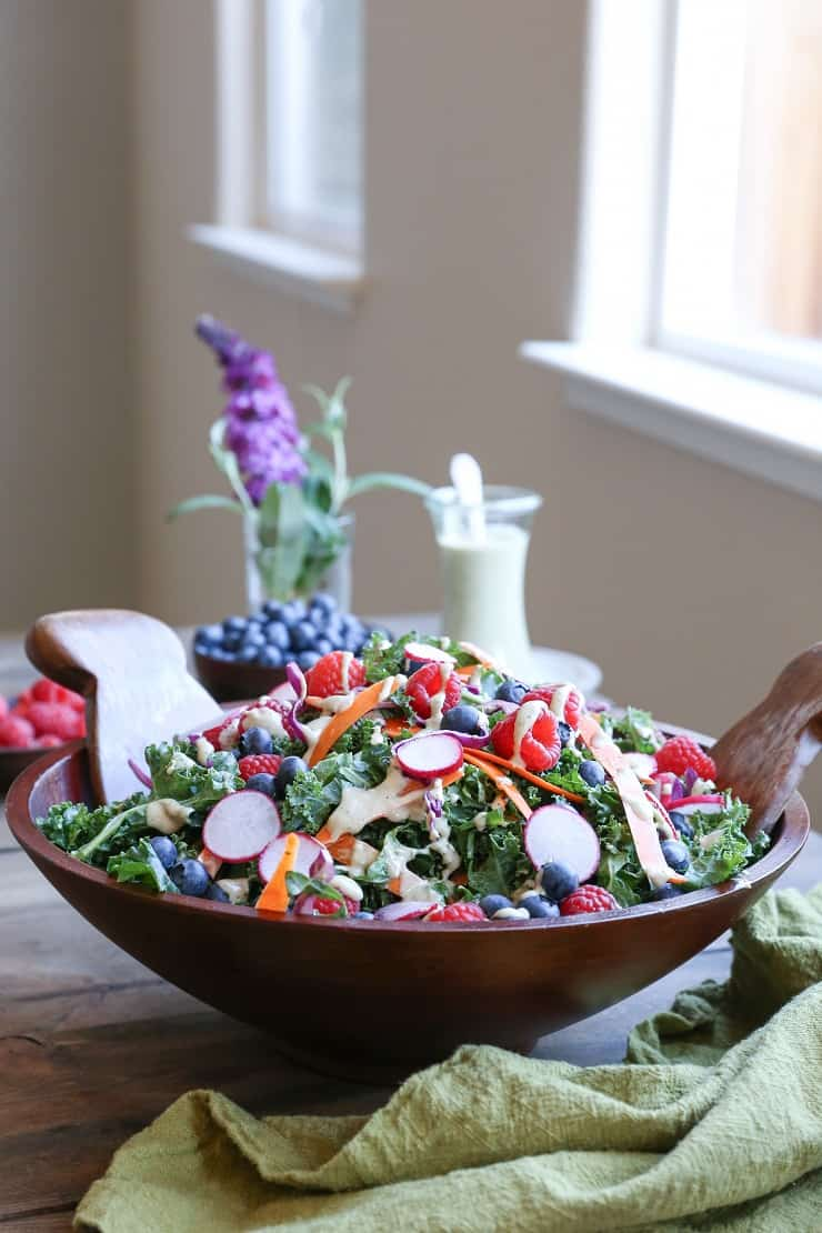 Kale and Blueberry Salad with Vegan Buttermilk Dressing