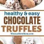 collage of keto chocolate truffles on white plate and in white bowl