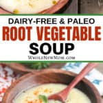 root vegetable soup in wooden bowl with wooden spoon