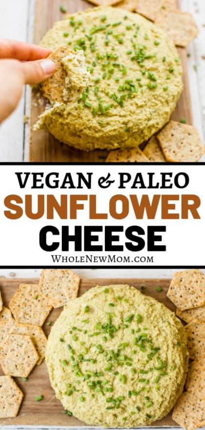 vegan sunflower cheese with crackers on a cutting board