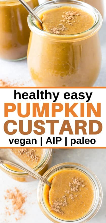 paleo pumpkin custard in glass jars