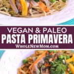 vegan pasta primavera with eggplant noodles on white plate