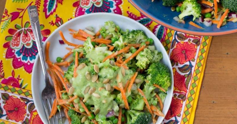 broccoli jicama salad with vegan avocado dressing