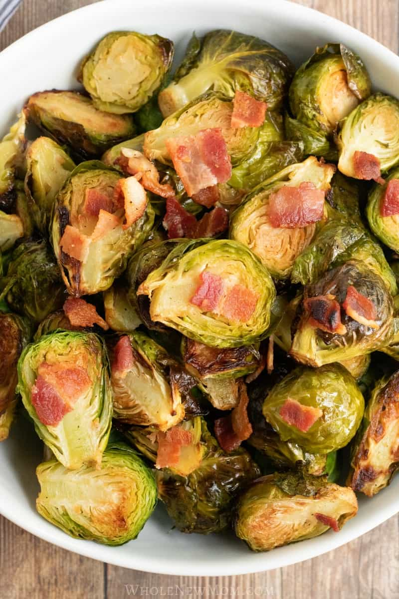 keto roasted brussels sprouts with bacon