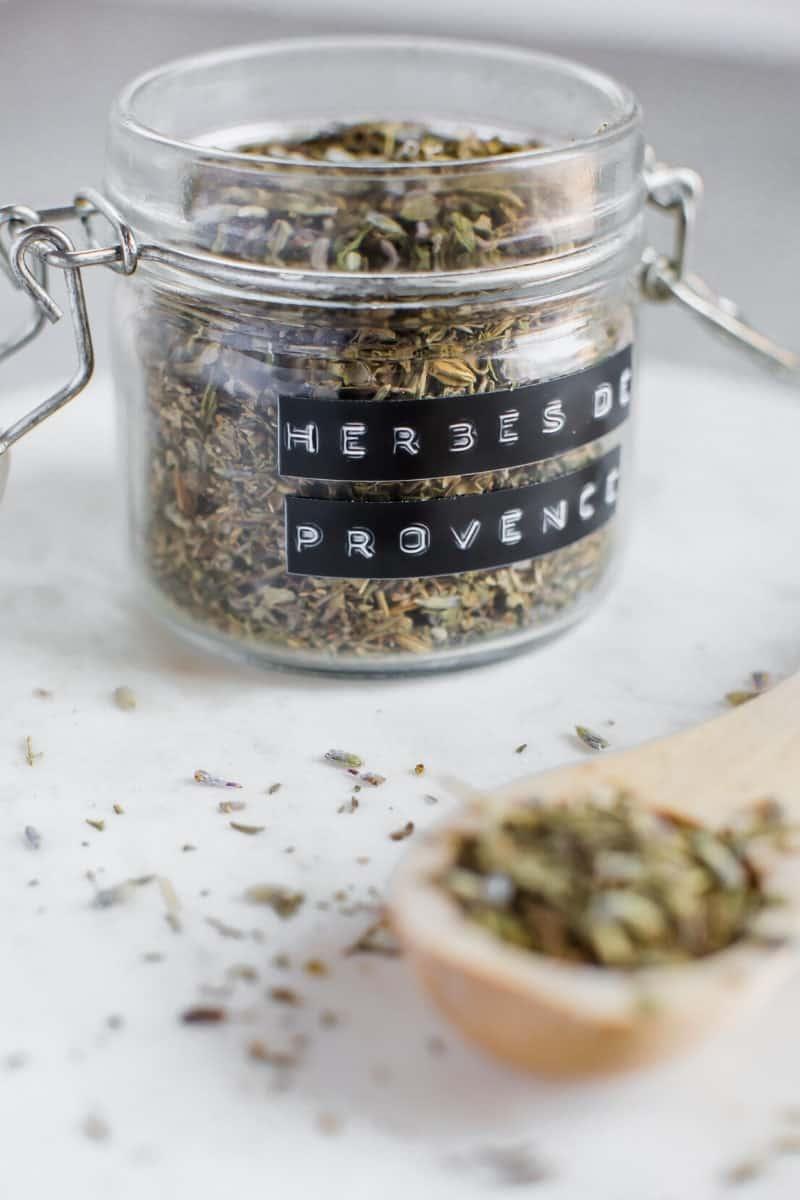 homemade herbes de provence in a jar