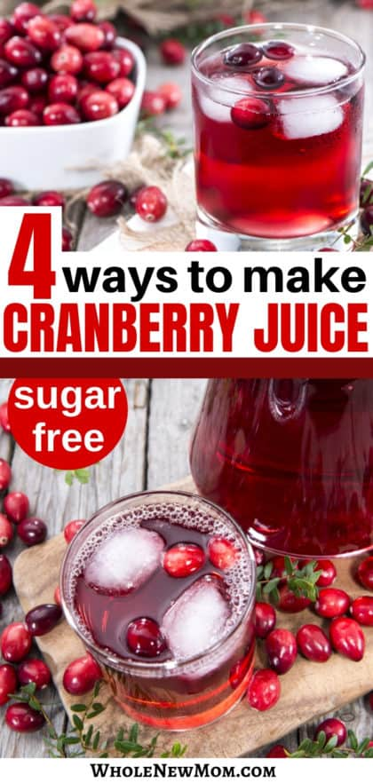 homemade cranberry juice in pitcher and glass