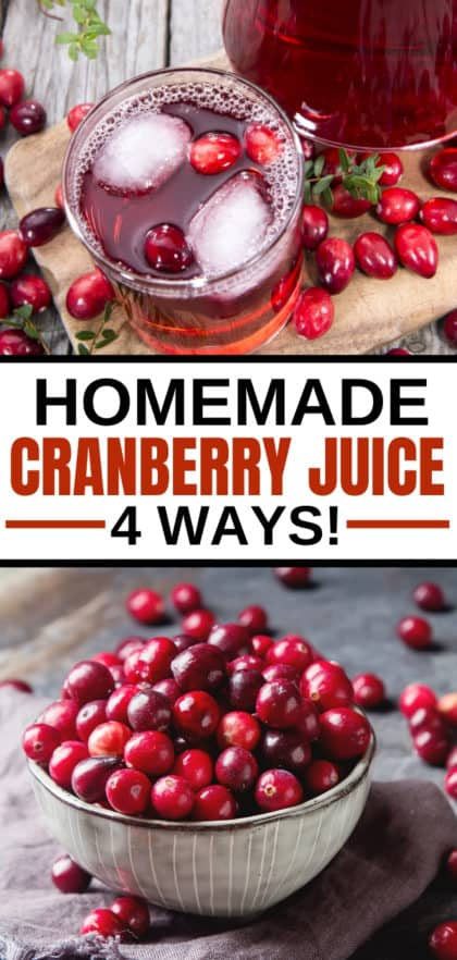homemade cranberry juice in a glass with a bowl of cranberries